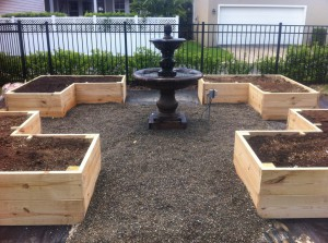 Newly built raised beds.