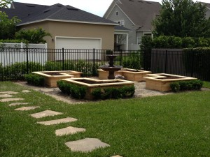 Landscaping around beds helps integrate them into your yard.